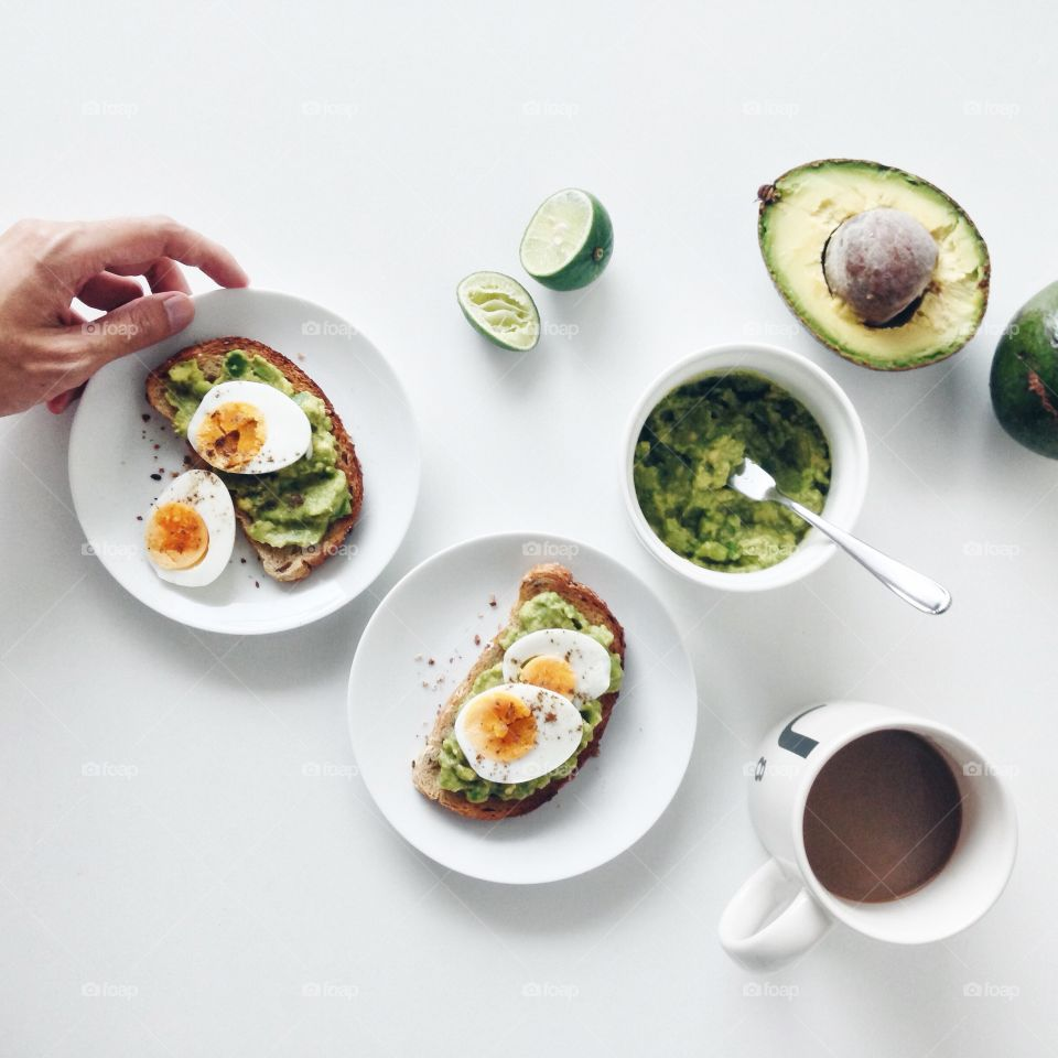 Overhead view of breakfast food