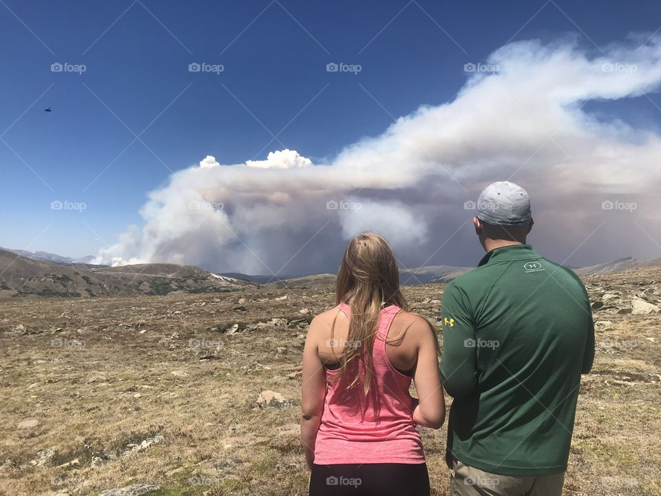 Witnessing a wildfire brewing nearby.  Photo was taken in Rocky Mountain National Park.