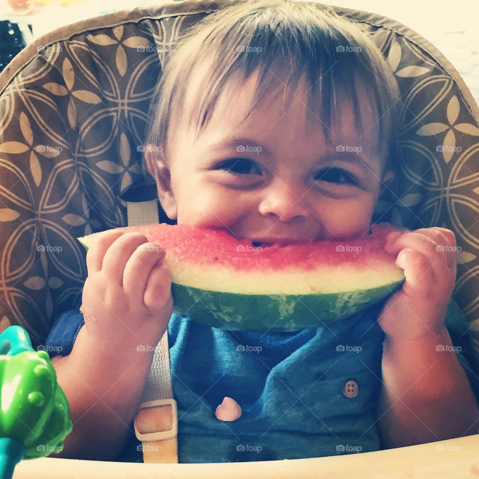 Watermelon Smiles. My nephew enjoying his first ever piece of Watermelon