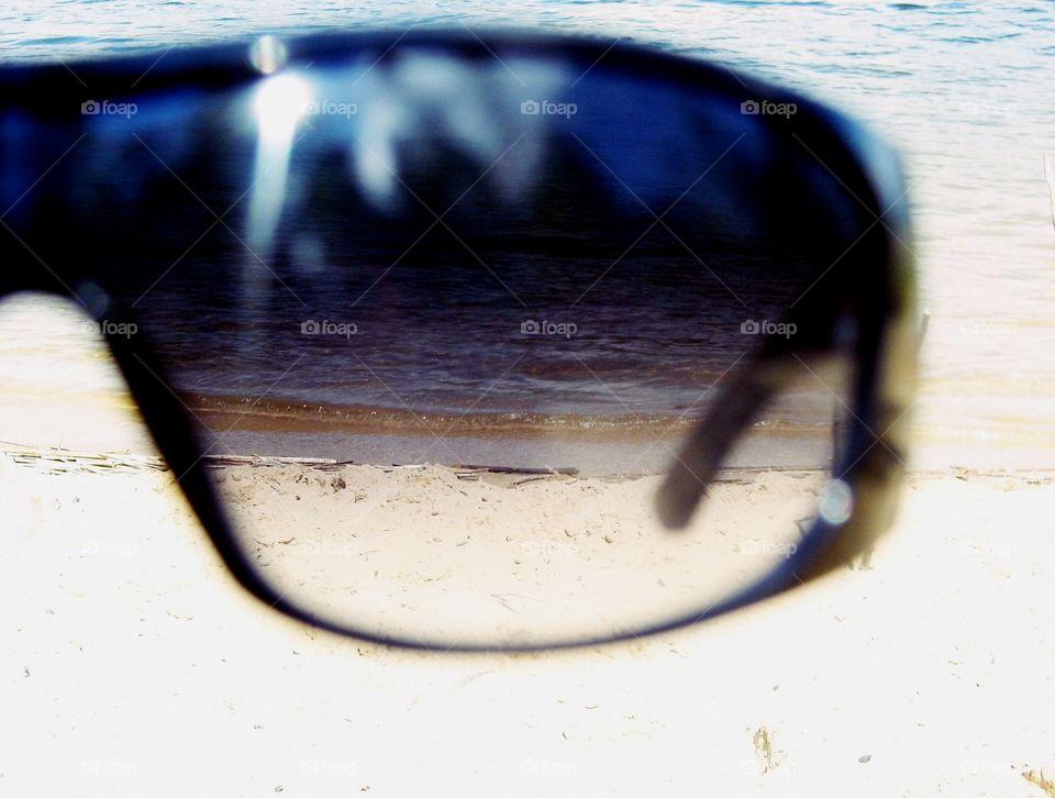 through glasses :)