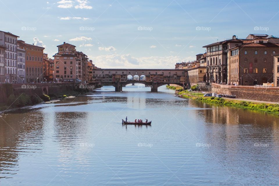 Houses built on the Ponte Vecchio over river Arno in Florence, Italy