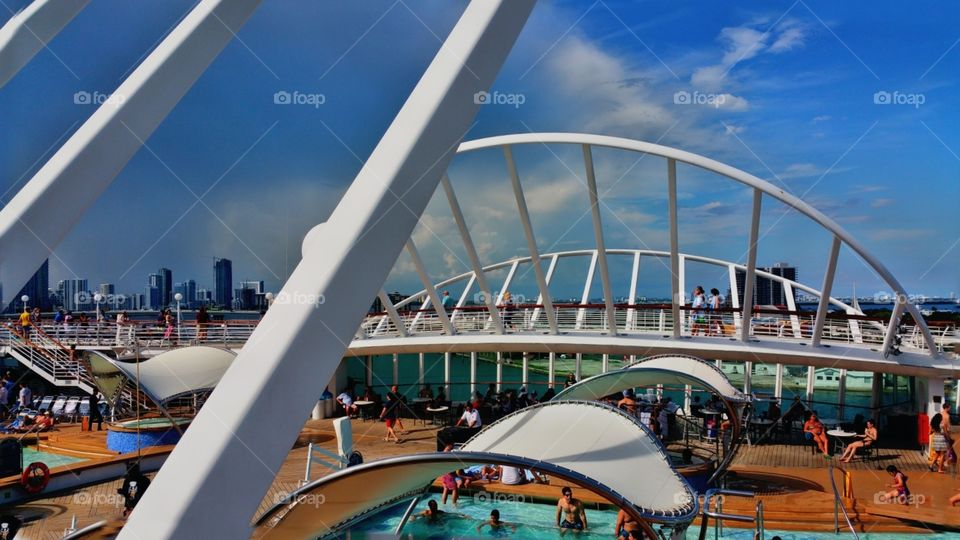 Deck ten on Royal Caribbean enchantment of the seas with a view of Miami
