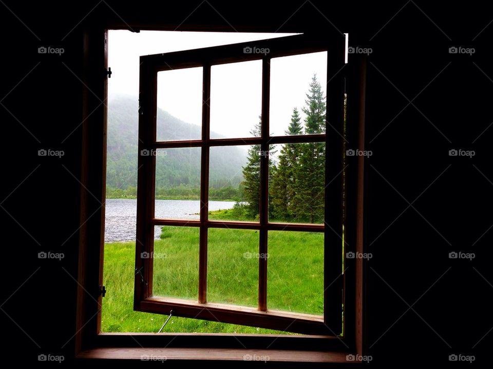 Scenic view of nature through window