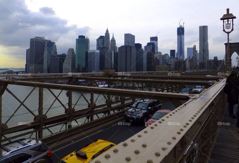 NEW YORK CITY BROOKLYN BRIDGE VIEW OF WTC ONE