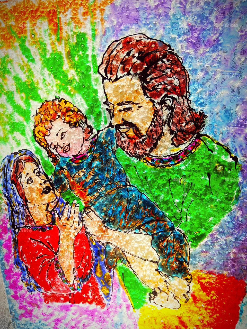 Holy Family Glass Painting