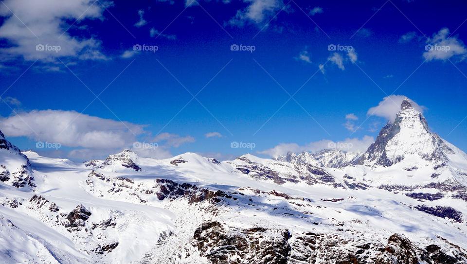 View of snowcapped mountain in Matterhorn, Switzerland
