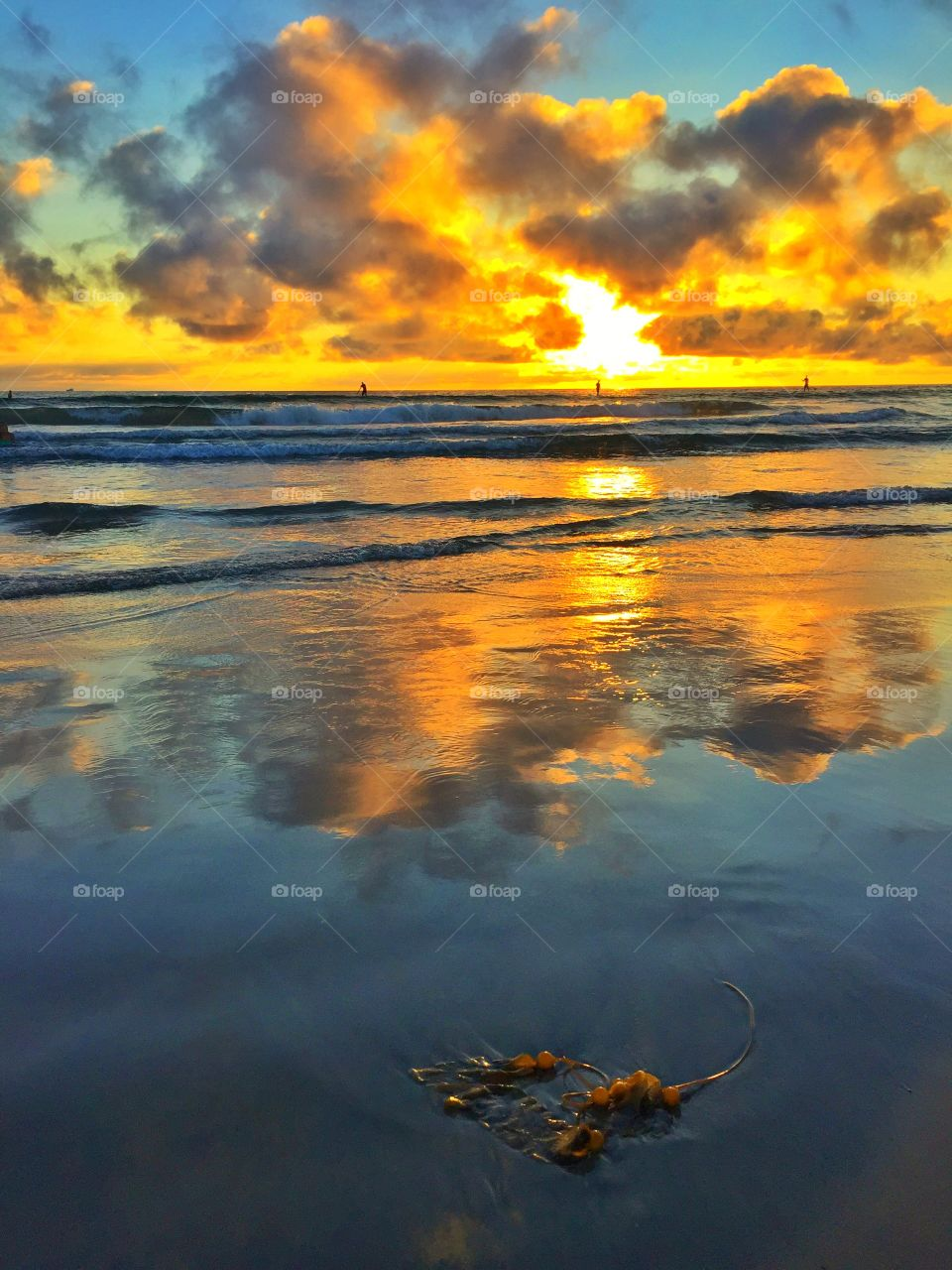 Mission Beach Sunset. Sunset over the Pacific Ocean of Mission Beach in San Diego, California
