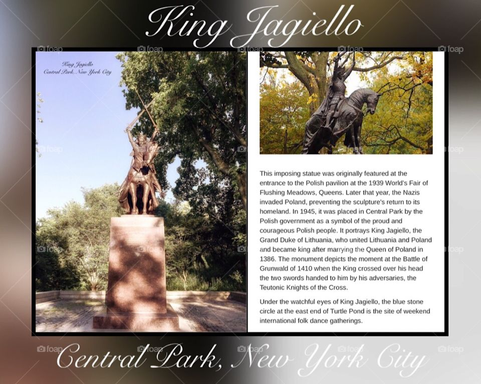 King Jagiello Statue - Central Park, New York City. Instagram,@PennyPeronto