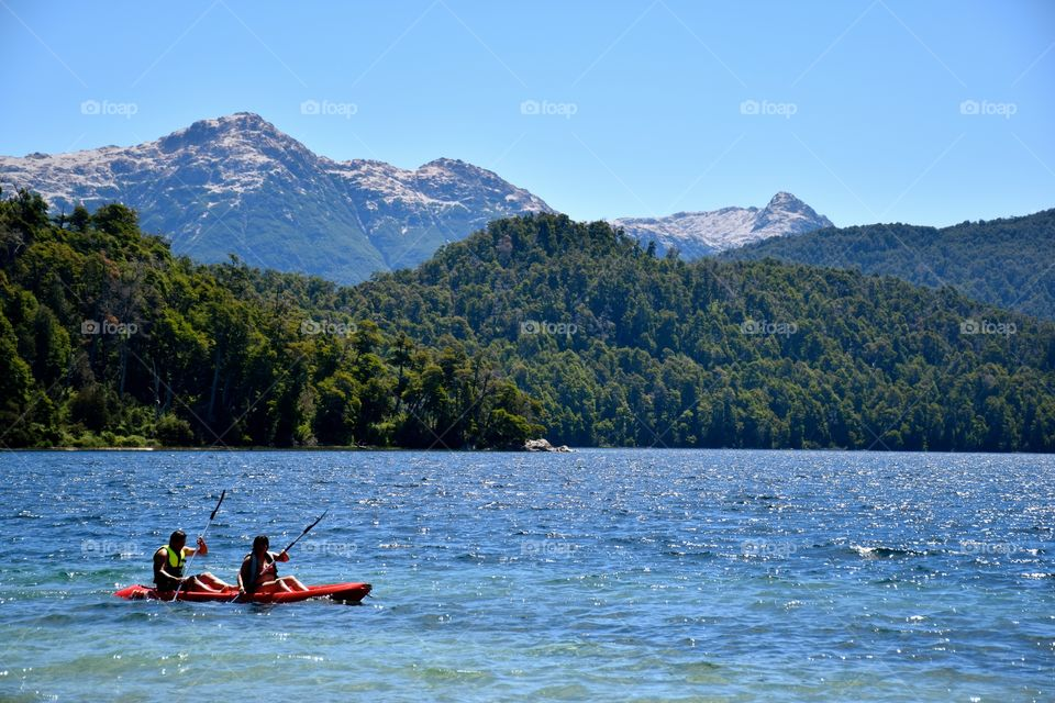Kayak at Espejo Grande Lake Argentina