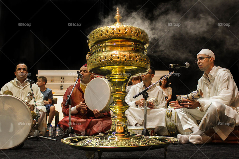 Religious people performing on stage