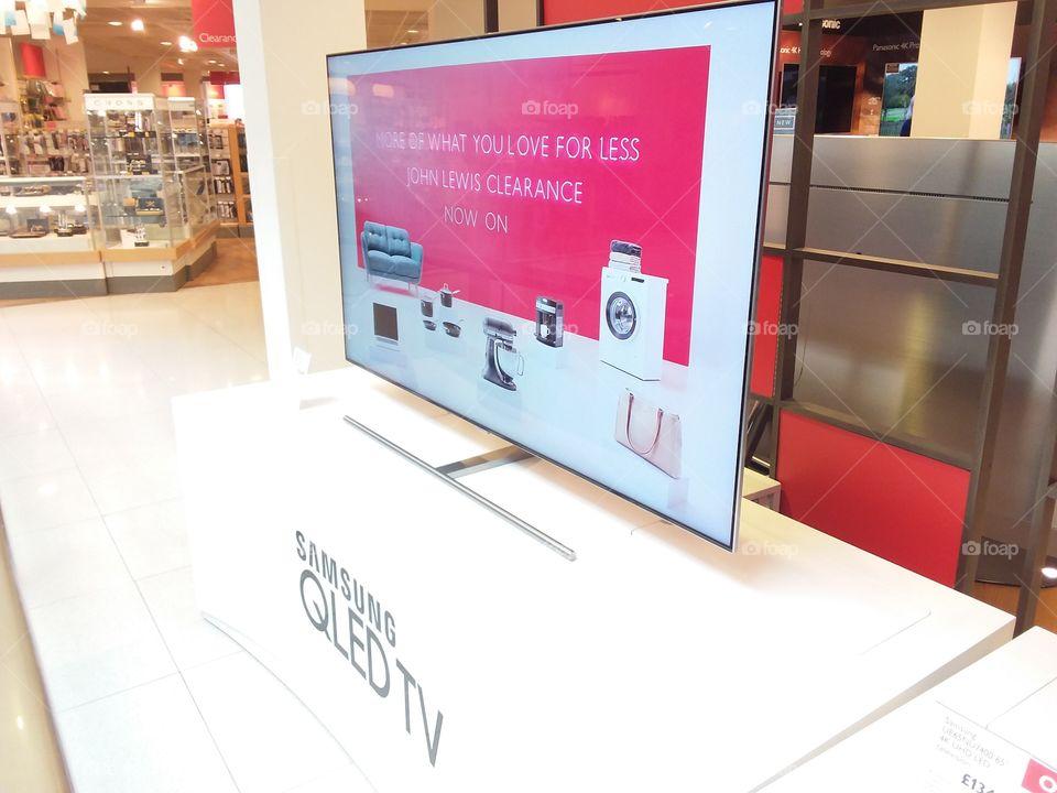 Samsung QLED ambient mode television 4K Ultra High Definition TV slimline