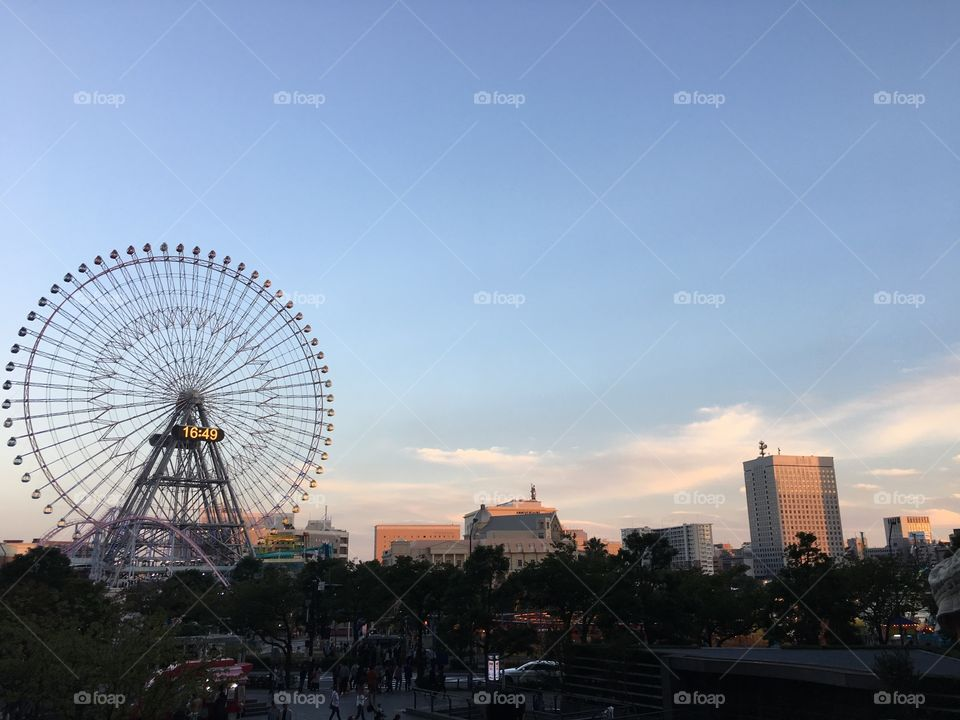 The Ferris Wheel in the beautiful afternoon