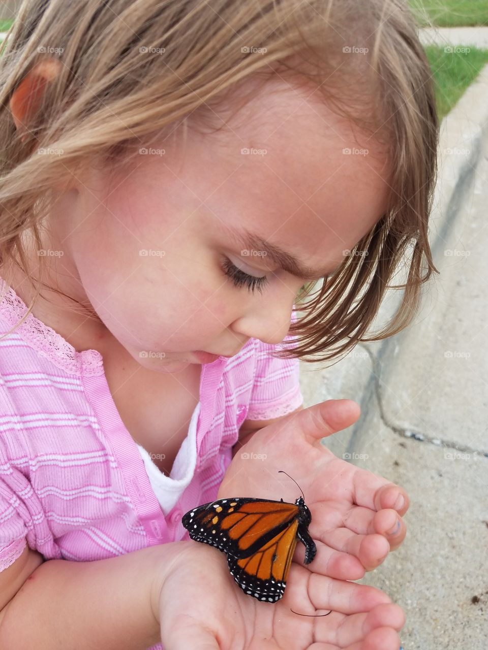 Close-up of girl's hand with butterfly