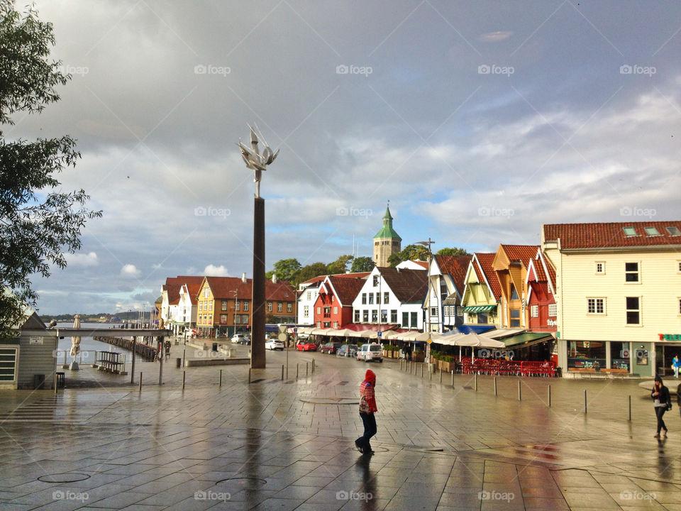 Stavanger, Norway. City center of Stavanger with old buildings.