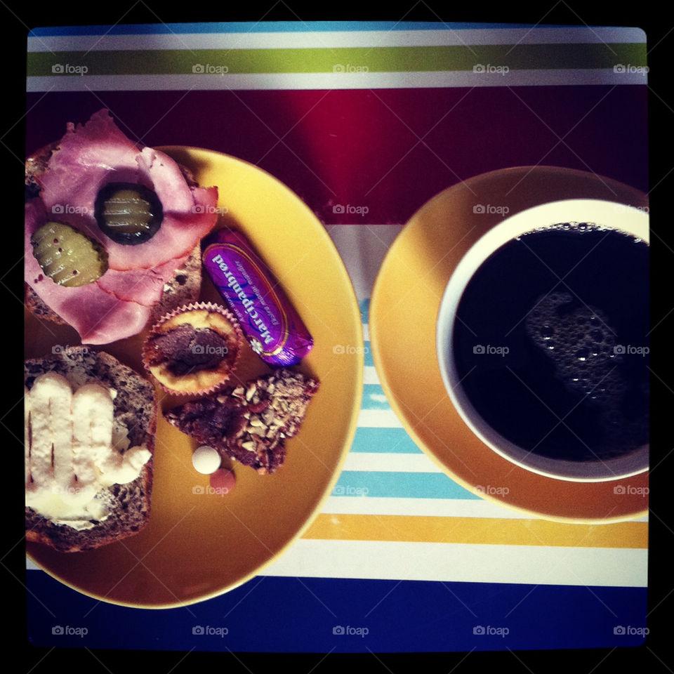 Late breakfast with swedish coffee, danish marcipan and cookies!