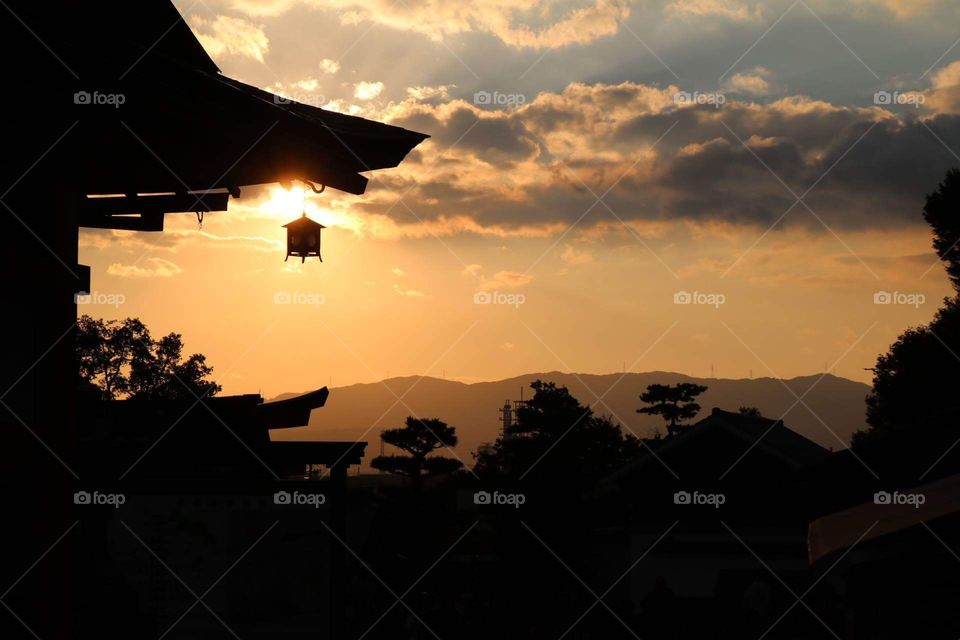 Temple in Kyoto - sunset