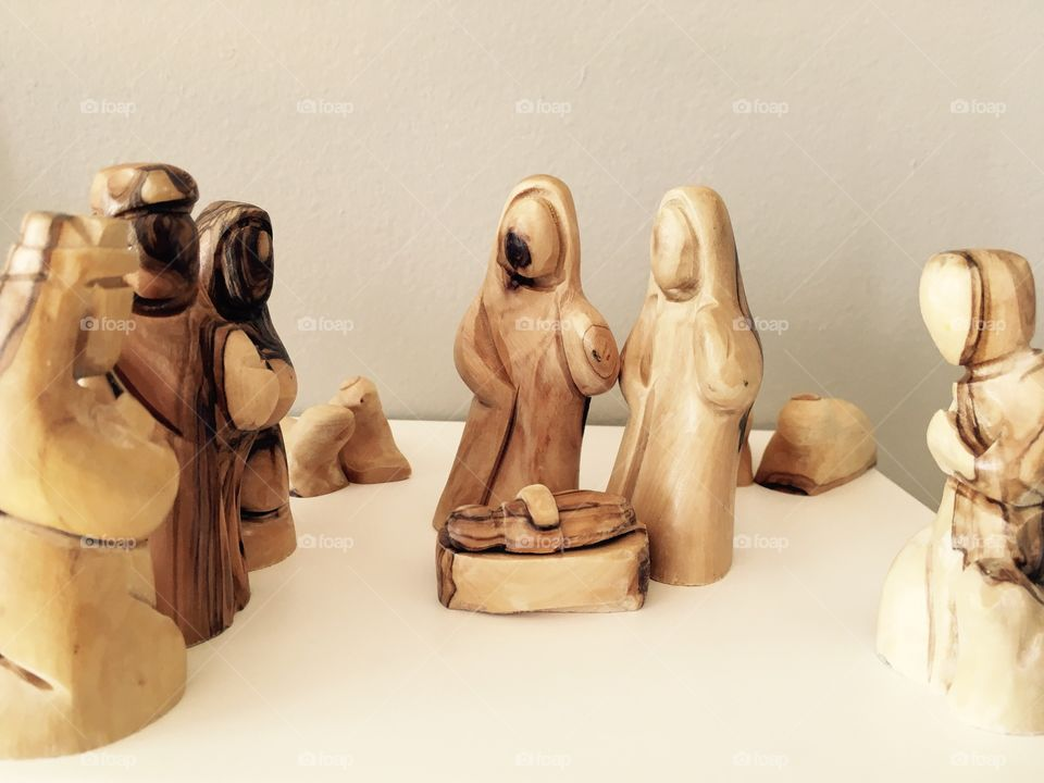 The nativity scene made with olive tree wood
