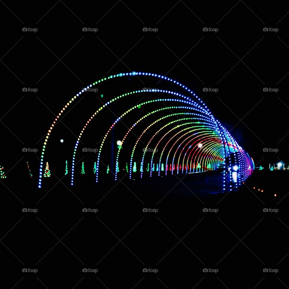 Lightshow in Sevierville, Tennessee. Synchronized Christmas lights