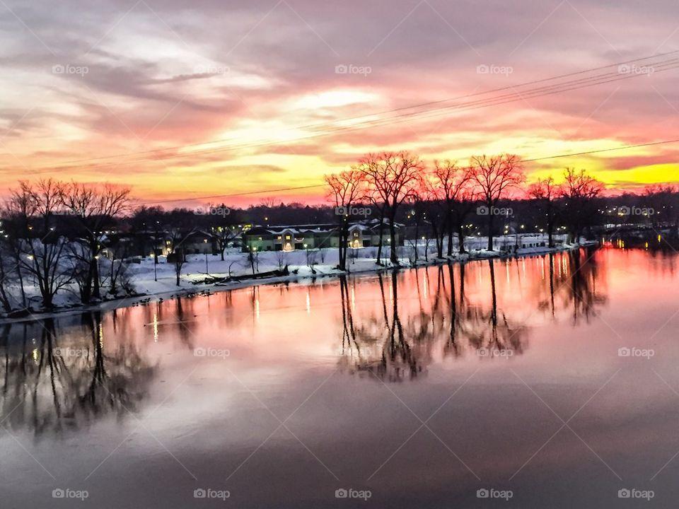 Sun Setting on Winter Wonderland Landscape