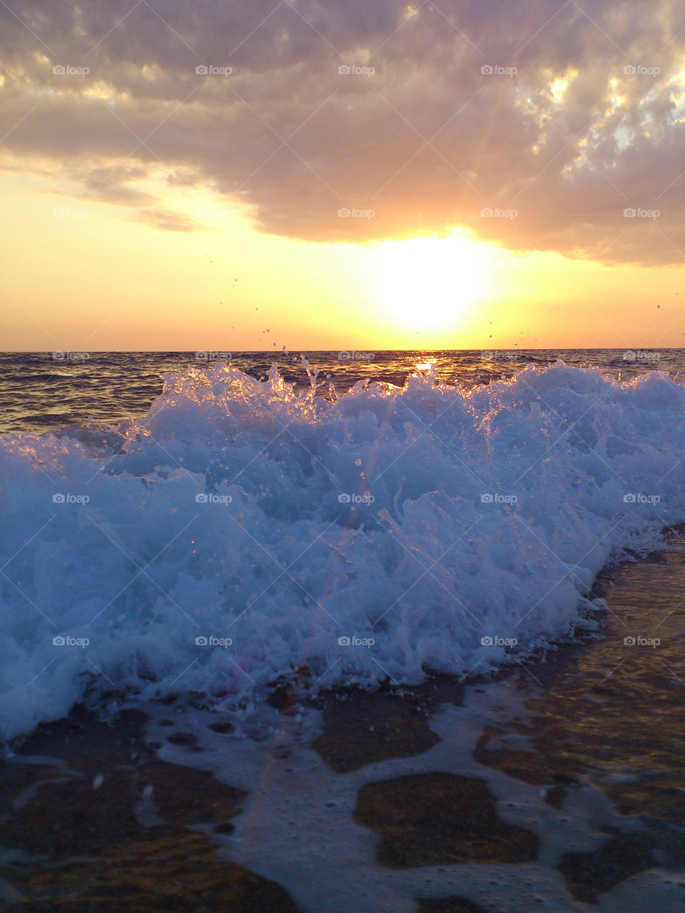 Beach sunset preveza water sand waves