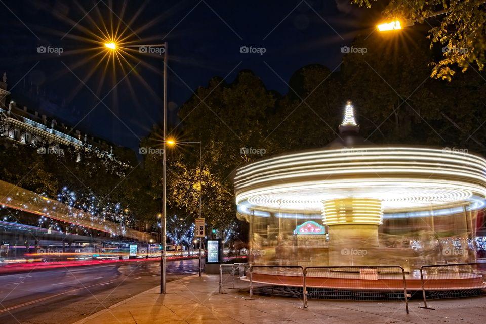 Carousel illuminated in Madrid