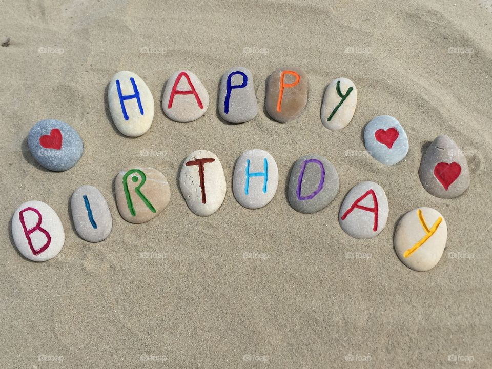 Happy Birthday. Carved an colored stones for a Happy Birthday