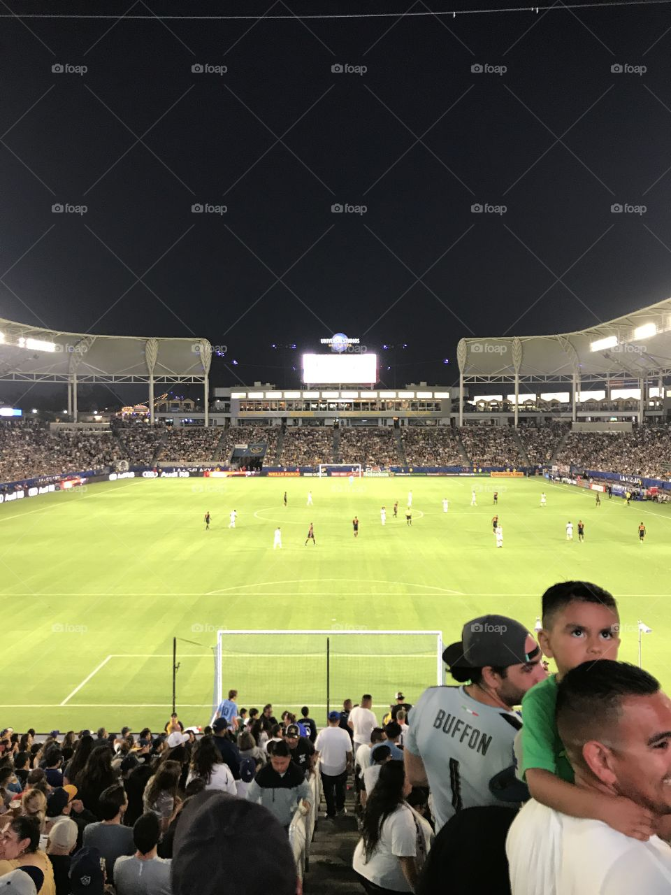View from the Los Angeles Galaxy supporters section behind the goal at Stub Hub Center in Carson, CA.