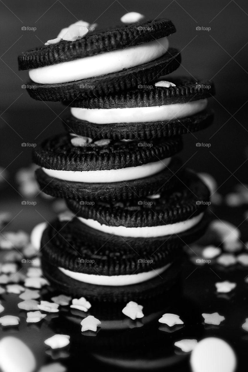 Monochrome mound of cookies