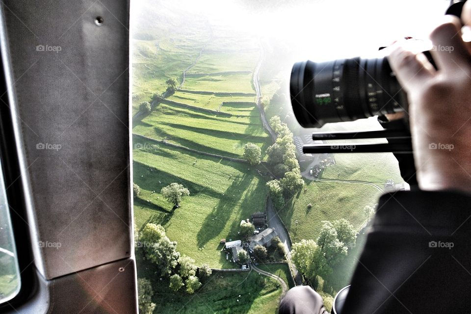 Filming aerials of Yorkshire. Filming aerials of Yorkshire, England