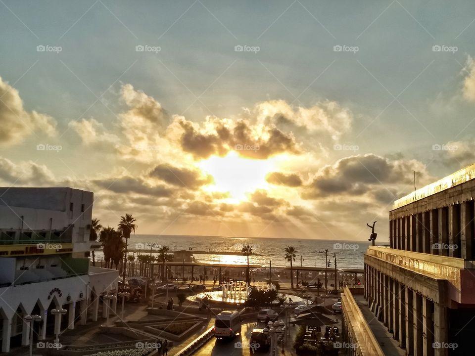 A beautiful sunset in Tel Aviv, Israel