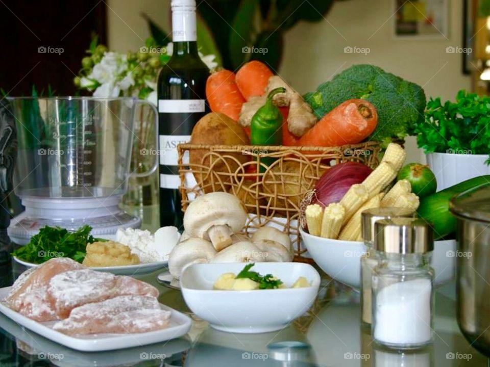 Fresh ingredients for coq au vin