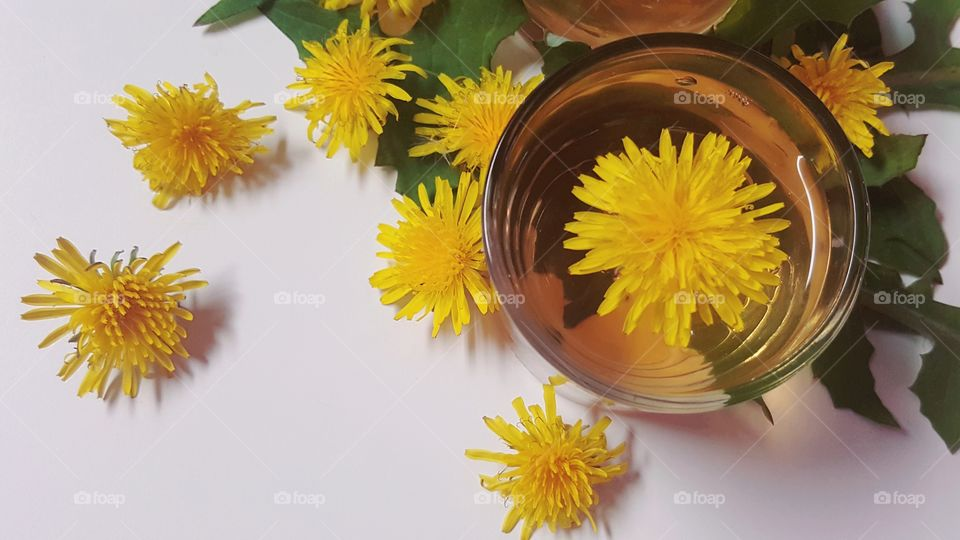 Directly above shot of tea with dandelion