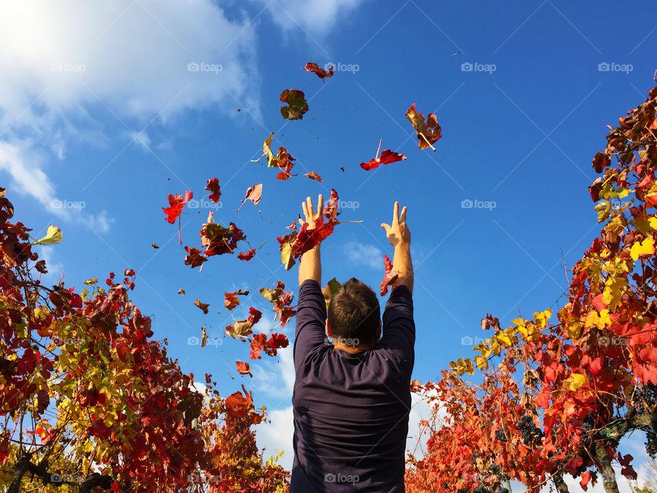 Men throwing autumn leafs