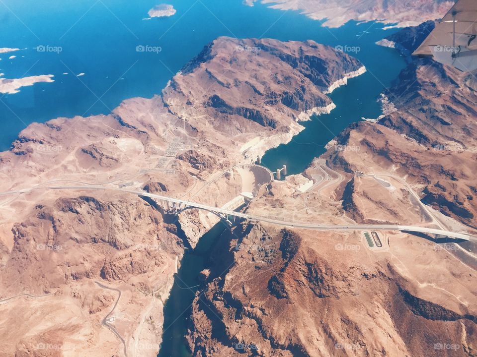 Hoover Dam. Aerial view of the Hoover dam