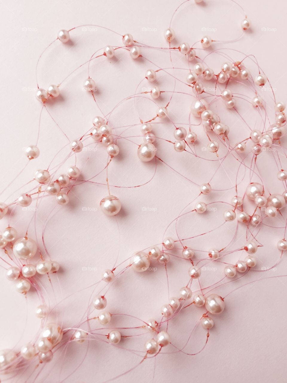 Elevated view of pearl necklace