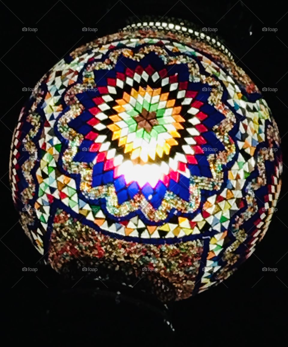 Beautiful mosaic art light at a Turkish restaurant