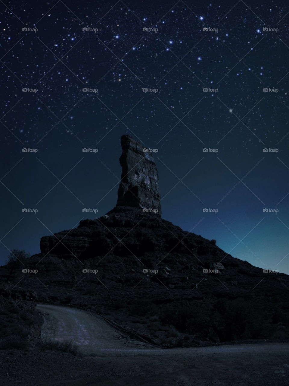 View of rock formation under the stars