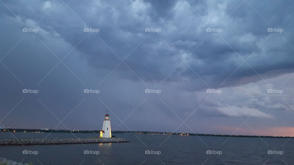 Storm Clouds Moving Over Lake Hefner in Oklahoma City, OK