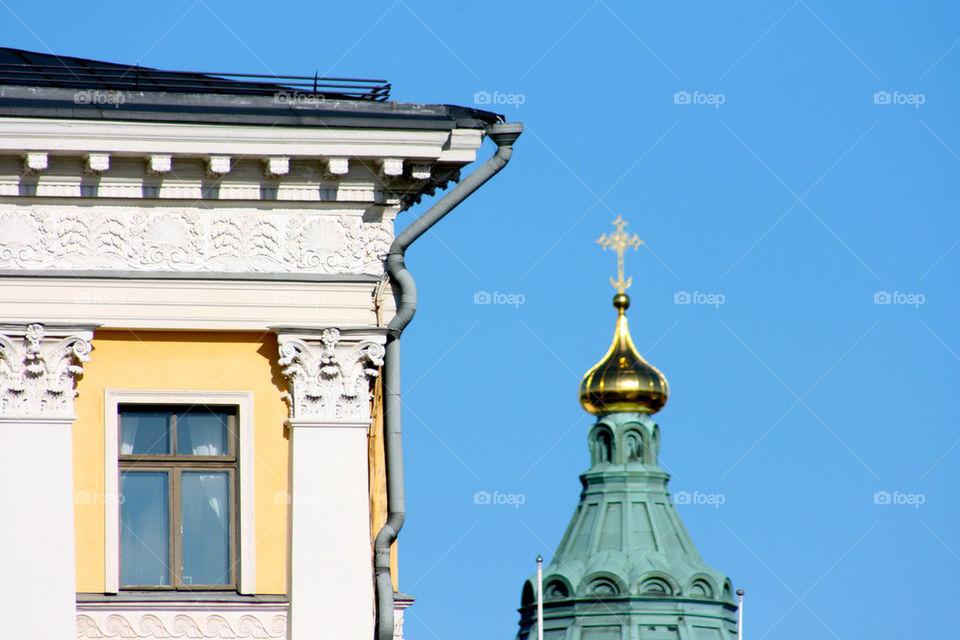 blue roof cathedral helsinki by jvukelja