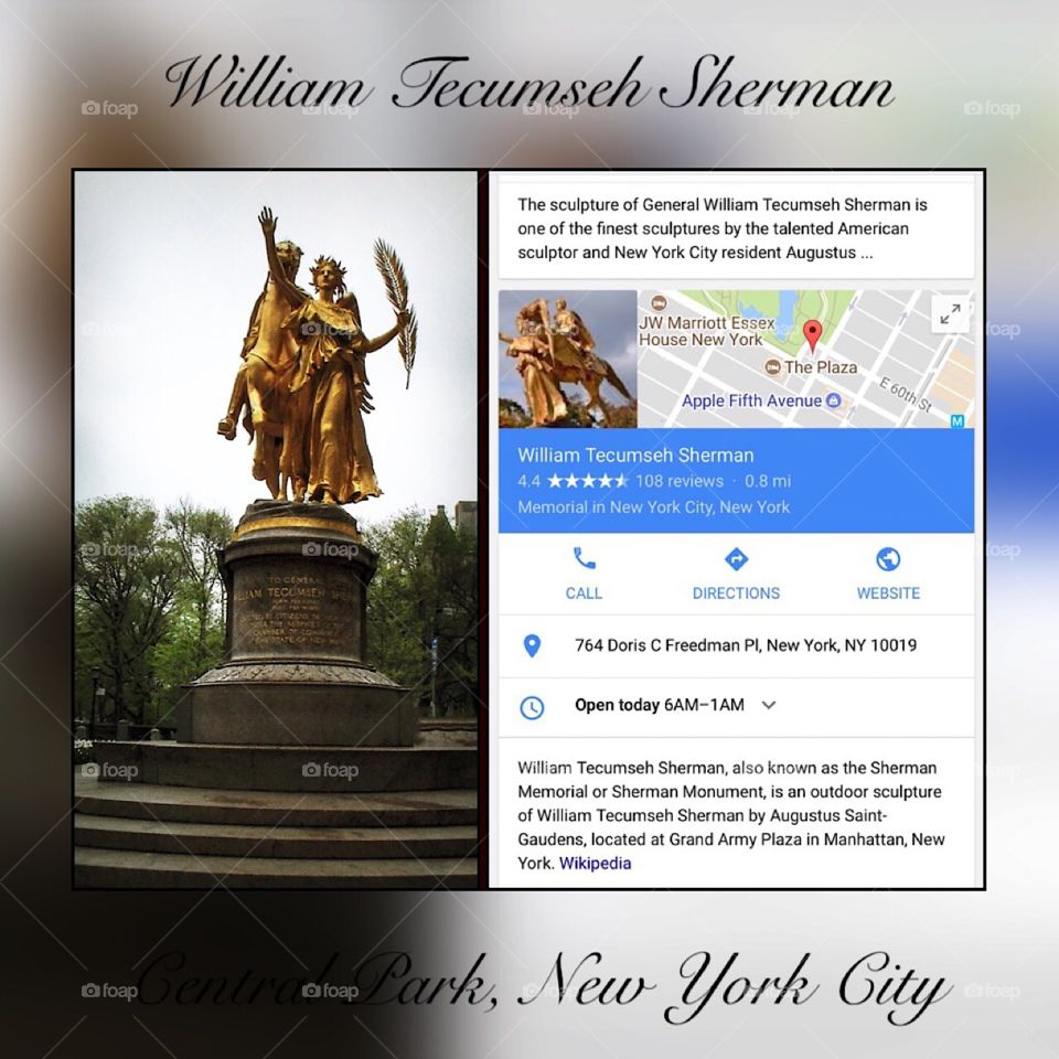 William Tecumseh Sherman Statue - New York City. Instagram,@PennyPeronto