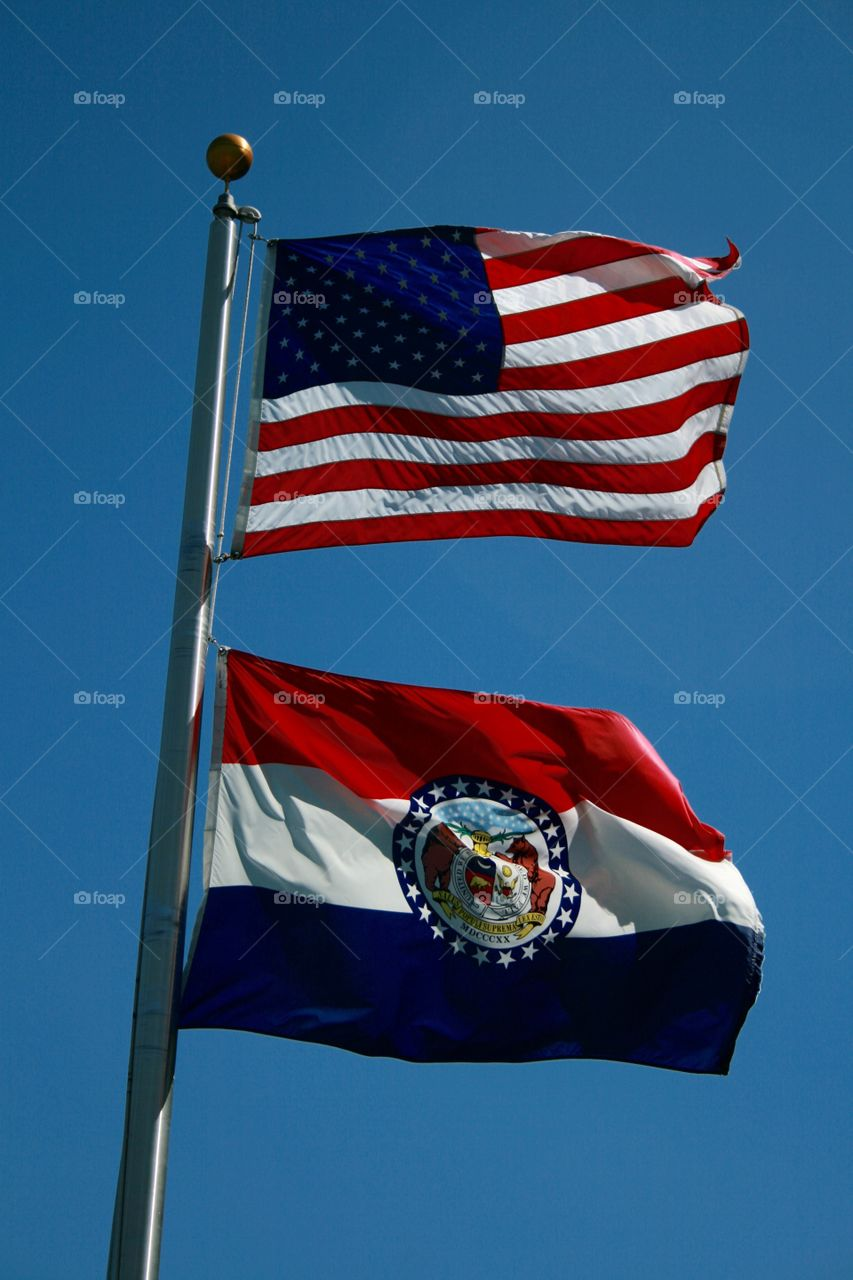 Red, White and Blue. United States and Missouri State Flags