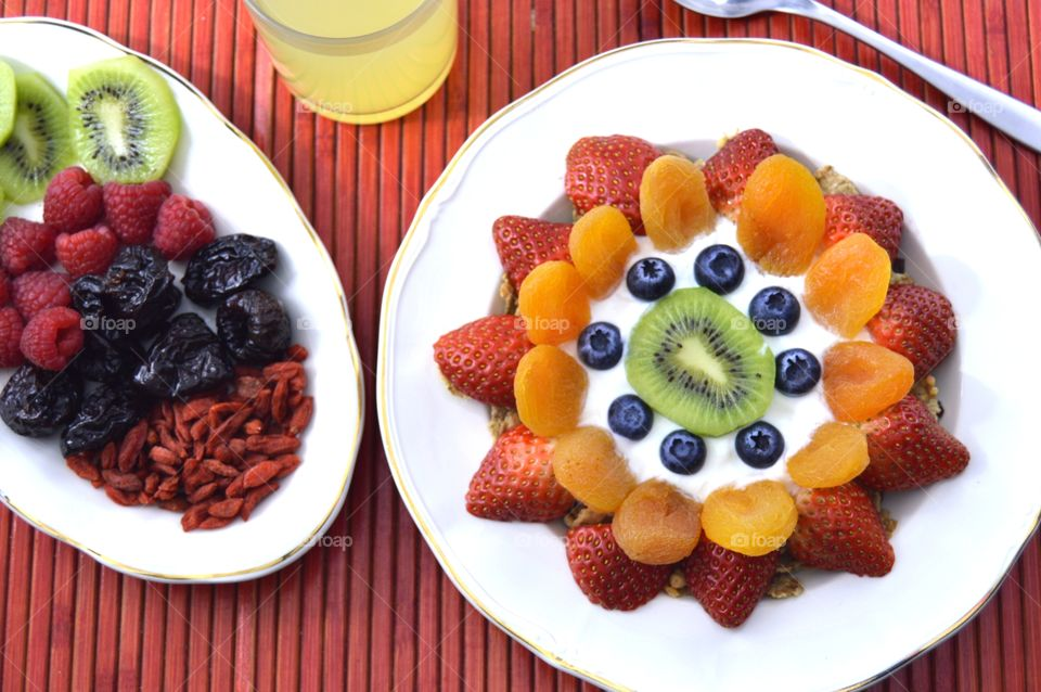 Healthy breakfast platter