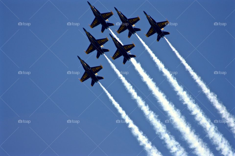 Blue Angels . Watching Fleet Week from a boat in the San Francisco Bay.