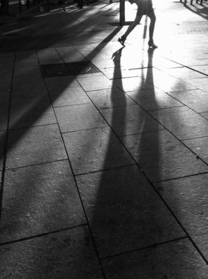 Shadow woman. Monochrome street photography