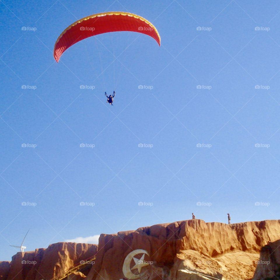 Paraglider on Canoa Quebrada Beach