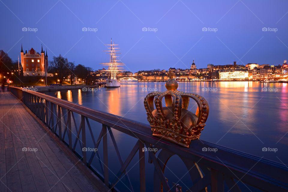 Skeppsbron and Skeppsholmen in Stockholm by night