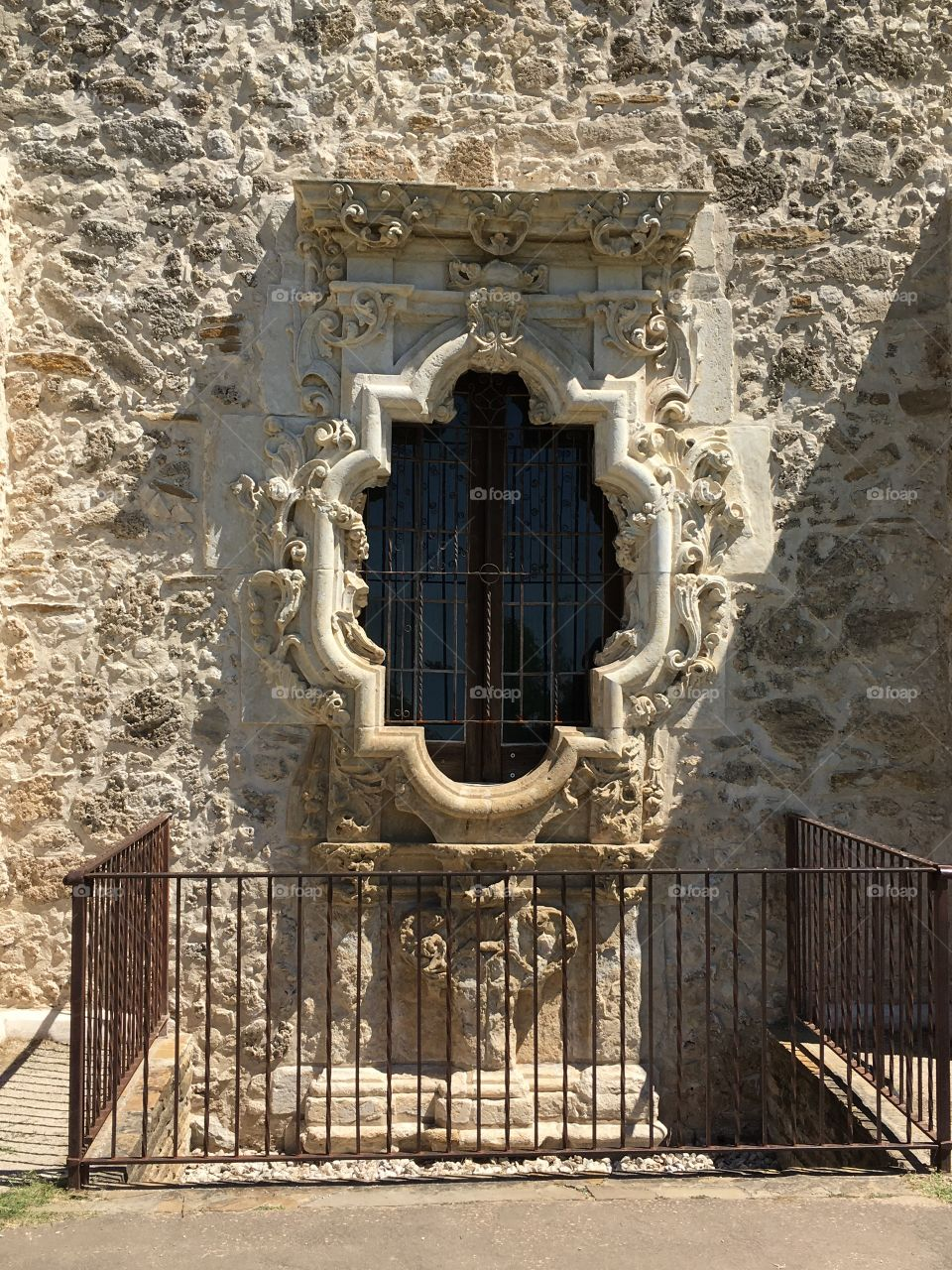San Antonio Mission - church window.