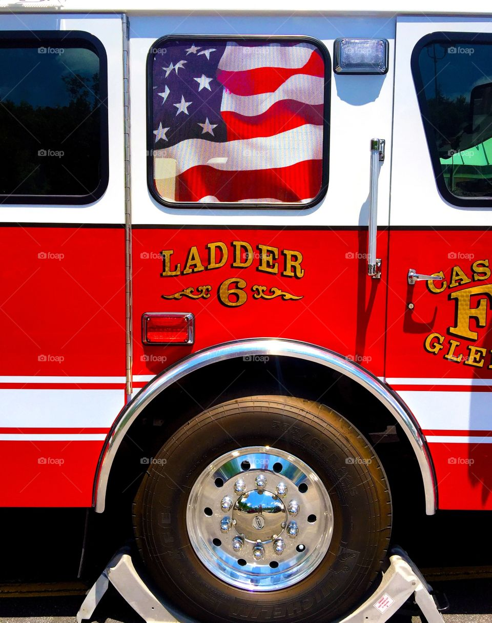 Fire engine truck with flag
