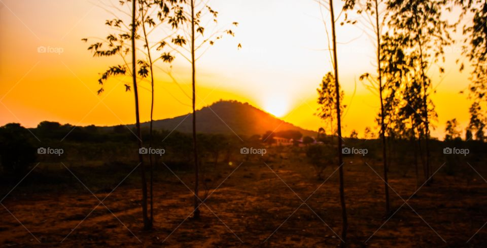 View of mountain during sunset