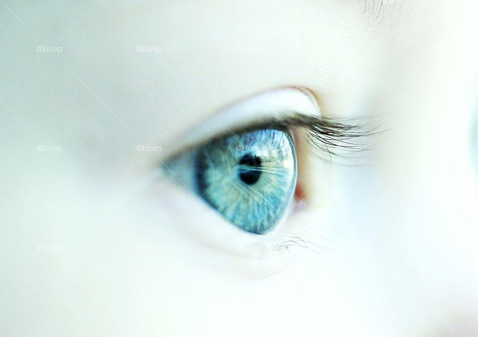 Macro shot of blue eyes